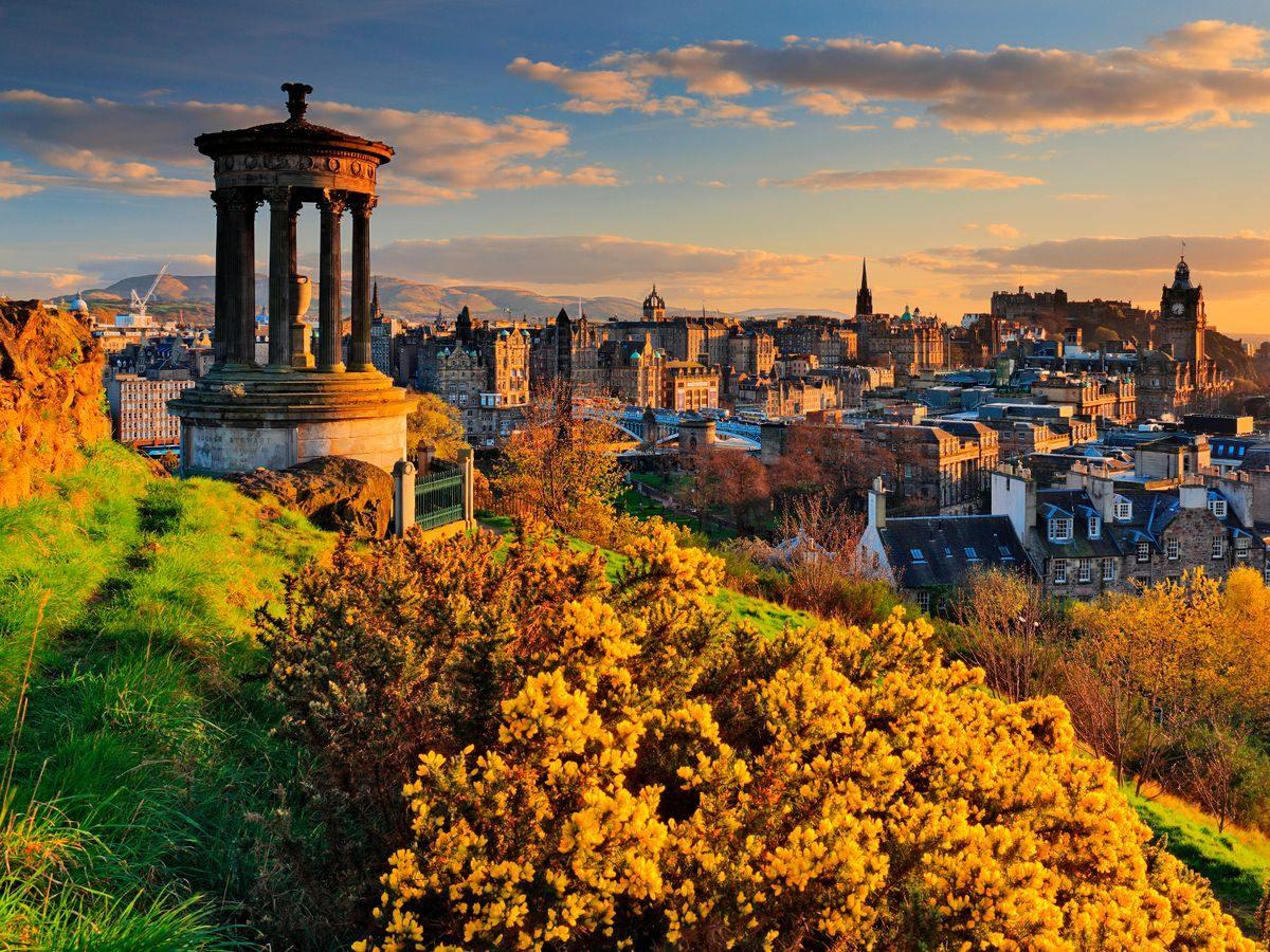 pohled na Edinburgh z Calton Hill