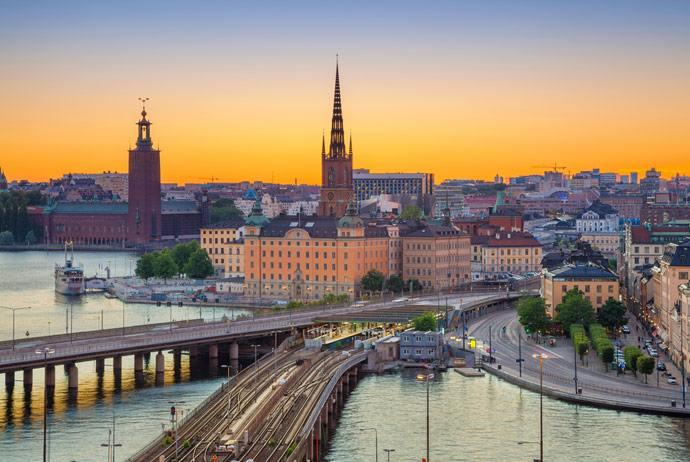 pohled z výšky na Stockholm