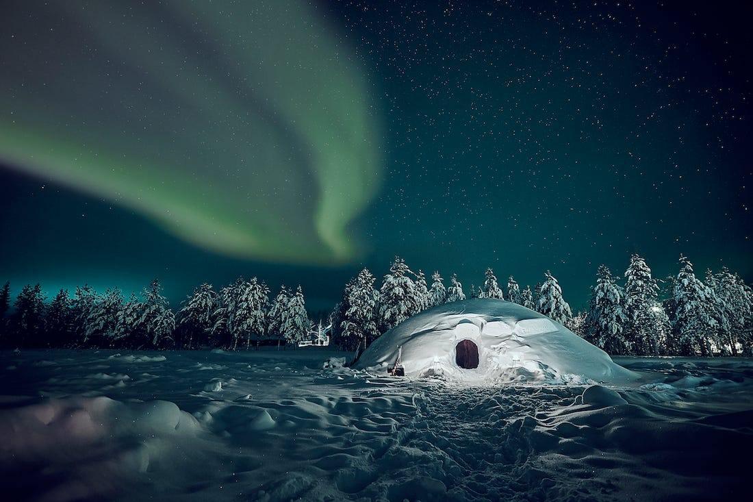 ubytování v grónsku s polární září
