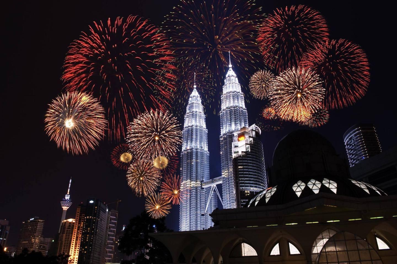 ohňostroj na nový rok v Kuala Lumpur