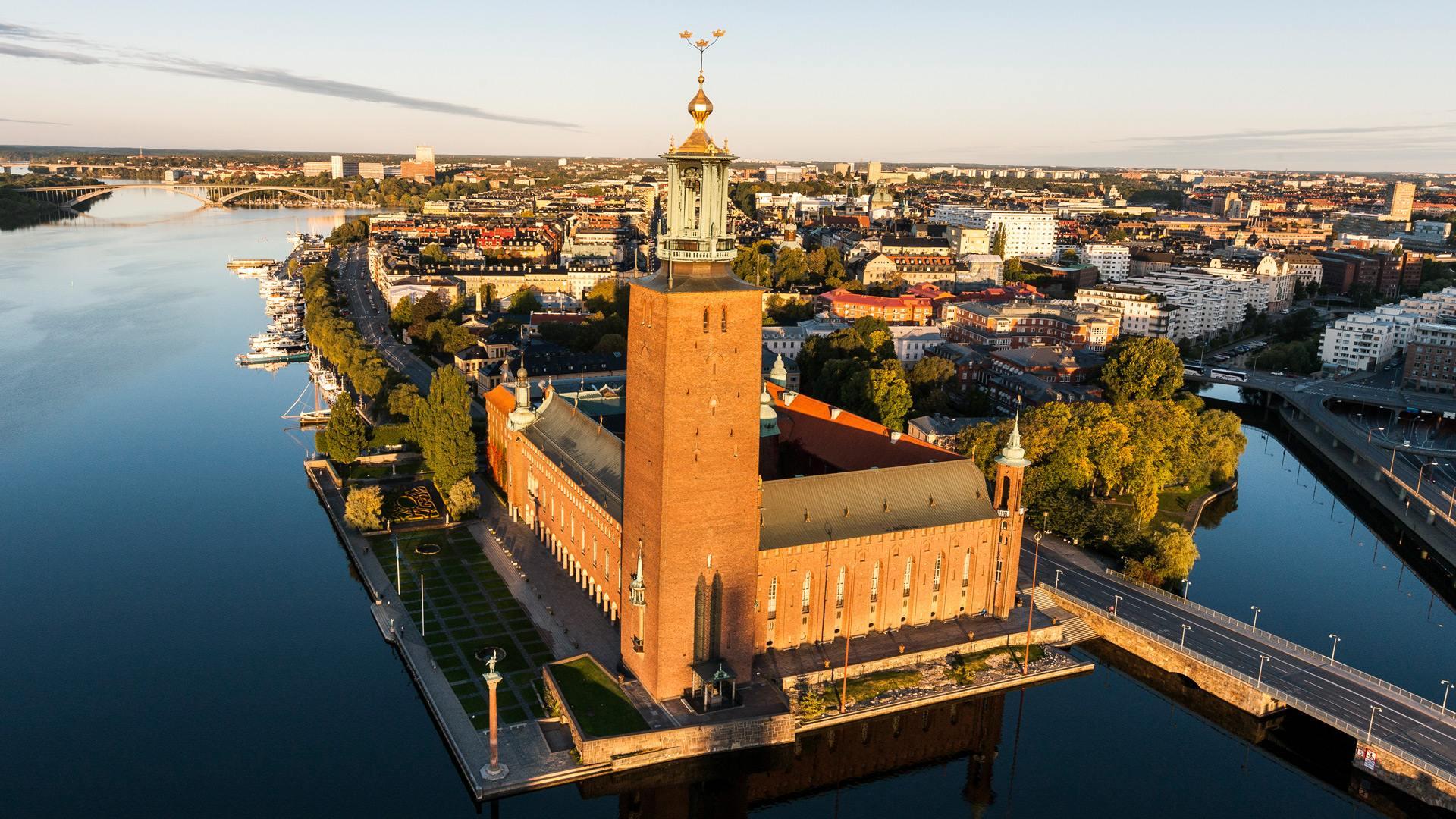 Stockholmská radnice z výšky