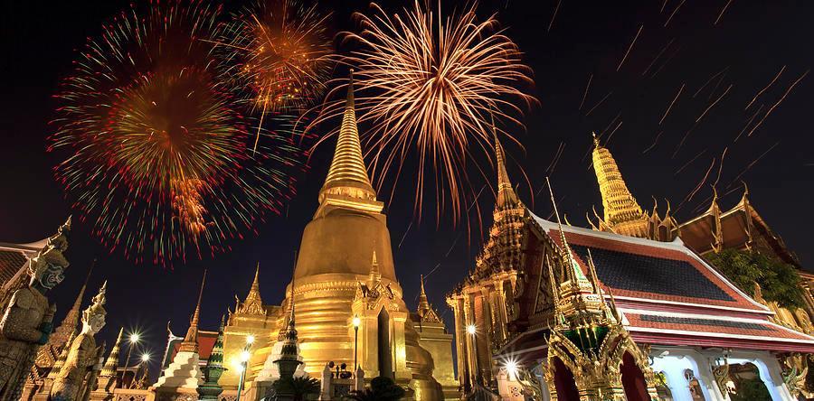 ohňostroj na nový rok v Bangkoku